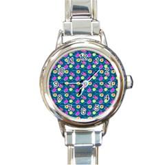 Summer Pattern Round Italian Charm Watch by ValentinaDesign
