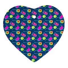 Summer Pattern Heart Ornament (two Sides) by ValentinaDesign