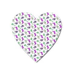 Dinosaurs Pattern Heart Magnet by ValentinaDesign