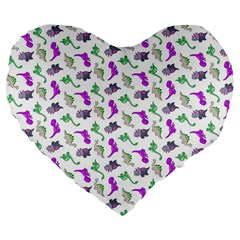 Dinosaurs Pattern Large 19  Premium Flano Heart Shape Cushions by ValentinaDesign