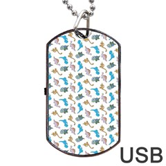 Dinosaurs Pattern Dog Tag Usb Flash (one Side) by ValentinaDesign