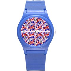 Happy 4th Of July Theme Pattern Round Plastic Sport Watch (s) by dflcprints