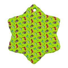 Dinosaurs Pattern Snowflake Ornament (two Sides) by ValentinaDesign