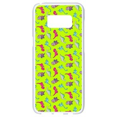 Dinosaurs Pattern Samsung Galaxy S8 White Seamless Case by ValentinaDesign