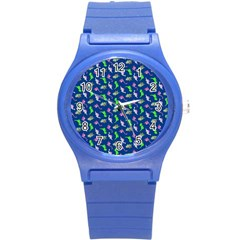 Dinosaurs Pattern Round Plastic Sport Watch (s) by ValentinaDesign