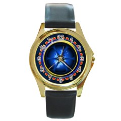 Power Core Round Gold Metal Watch by linceazul