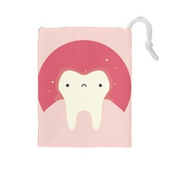 Sad Tooth Pink Drawstring Pouches (large)  by Mariart