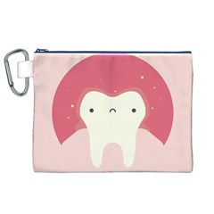 Sad Tooth Pink Canvas Cosmetic Bag (xl) by Mariart