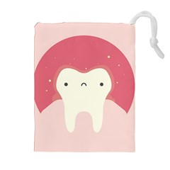 Sad Tooth Pink Drawstring Pouches (extra Large) by Mariart