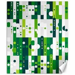 Generative Art Experiment Rectangular Circular Shapes Polka Green Vertical Canvas 20  X 24   by Mariart