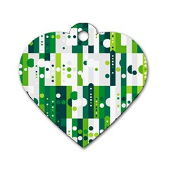 Generative Art Experiment Rectangular Circular Shapes Polka Green Vertical Dog Tag Heart (one Side) by Mariart