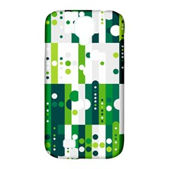 Generative Art Experiment Rectangular Circular Shapes Polka Green Vertical Samsung Galaxy S4 Classic Hardshell Case (pc+silicone) by Mariart