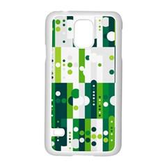 Generative Art Experiment Rectangular Circular Shapes Polka Green Vertical Samsung Galaxy S5 Case (white) by Mariart