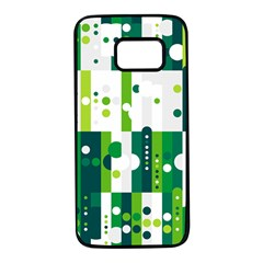 Generative Art Experiment Rectangular Circular Shapes Polka Green Vertical Samsung Galaxy S7 Black Seamless Case by Mariart