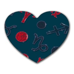 Zodiac Signs Planets Blue Red Space Heart Mousepads by Mariart