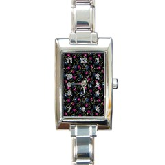Floral Pattern Rectangle Italian Charm Watch by ValentinaDesign
