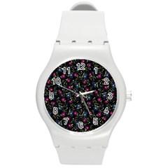 Floral Pattern Round Plastic Sport Watch (m) by ValentinaDesign