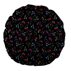 Floral Pattern Large 18  Premium Flano Round Cushions by ValentinaDesign