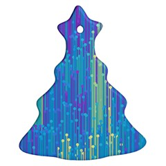 Vertical Behance Line Polka Dot Blue Green Purple Christmas Tree Ornament (two Sides) by Mariart