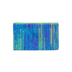 Vertical Behance Line Polka Dot Blue Green Purple Cosmetic Bag (xs) by Mariart