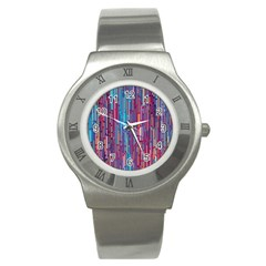 Vertical Behance Line Polka Dot Blue Green Purple Red Blue Black Stainless Steel Watch by Mariart