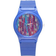 Vertical Behance Line Polka Dot Blue Green Purple Red Blue Black Round Plastic Sport Watch (s) by Mariart