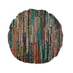 Vertical Behance Line Polka Dot Grey Blue Brown Standard 15  Premium Round Cushions by Mariart