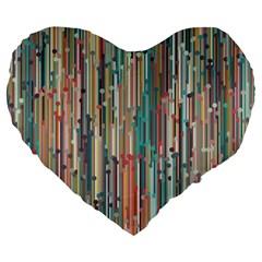 Vertical Behance Line Polka Dot Grey Blue Brown Large 19  Premium Heart Shape Cushions by Mariart