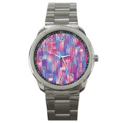 Vertical Behance Line Polka Dot Blue Green Purple Red Blue Small Sport Metal Watch by Mariart