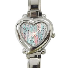 Vertical Behance Line Polka Dot Grey Pink Heart Italian Charm Watch by Mariart