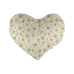 Floral Pattern Standard 16  Premium Heart Shape Cushions by ValentinaDesign