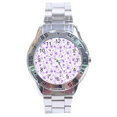 Floral Pattern Stainless Steel Analogue Watch by ValentinaDesign