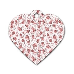 Floral Pattern Dog Tag Heart (one Side) by ValentinaDesign