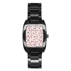 Floral Pattern Stainless Steel Barrel Watch by ValentinaDesign