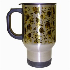 Floral Pattern Travel Mug (silver Gray) by ValentinaDesign