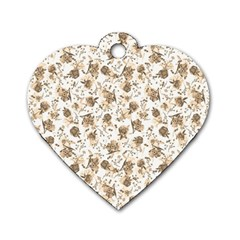 Floral Pattern Dog Tag Heart (two Sides) by ValentinaDesign