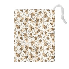Floral Pattern Drawstring Pouches (extra Large) by ValentinaDesign