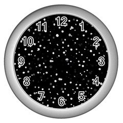 Dots Pattern Wall Clocks (silver)  by ValentinaDesign