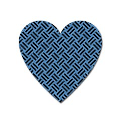 Woven2 Black Marble & Blue Colored Pencil (r) Magnet (heart) by trendistuff