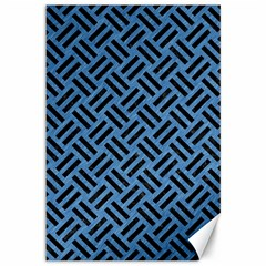 Woven2 Black Marble & Blue Colored Pencil (r) Canvas 12  X 18  by trendistuff