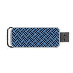 Woven2 Black Marble & Blue Colored Pencil (r) Portable Usb Flash (two Sides) by trendistuff