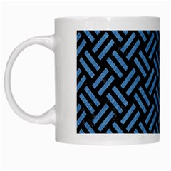 Woven2 Black Marble & Blue Colored Pencil White Mug by trendistuff