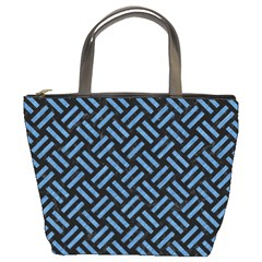 Woven2 Black Marble & Blue Colored Pencil Bucket Bag by trendistuff