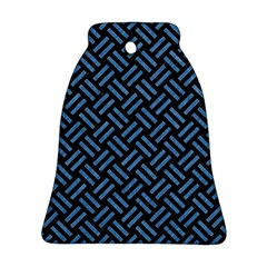 Woven2 Black Marble & Blue Colored Pencil Bell Ornament (two Sides) by trendistuff