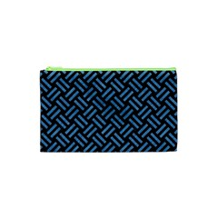 Woven2 Black Marble & Blue Colored Pencil Cosmetic Bag (xs) by trendistuff