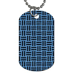 Woven1 Black Marble & Blue Colored Pencil (r) Dog Tag (one Side) by trendistuff