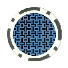 Woven1 Black Marble & Blue Colored Pencil (r) Poker Chip Card Guard by trendistuff