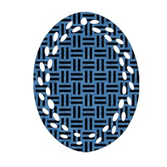 Woven1 Black Marble & Blue Colored Pencil (r) Ornament (oval Filigree) by trendistuff