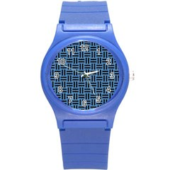 Woven1 Black Marble & Blue Colored Pencil (r) Round Plastic Sport Watch (s) by trendistuff