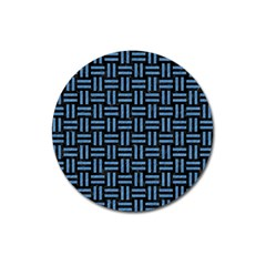 Woven1 Black Marble & Blue Colored Pencil Magnet 3  (round) by trendistuff
